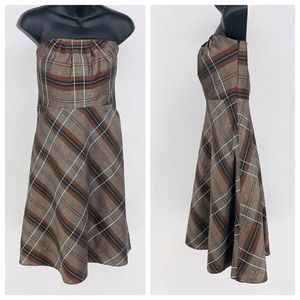 Banana Republic Dress Women 2 Brown Plaid Straples